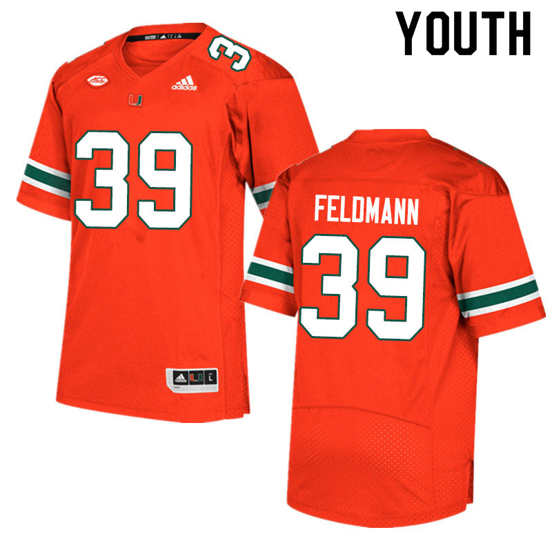 Adidas Miami Hurricanes Youth #39 Gannon Feldmann College Football Jerseys Sale-Orange
